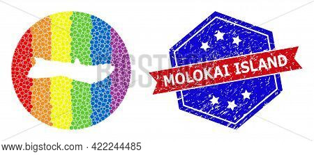Pixelated Bright Spectral Map Of Molokai Island Collage Designed With Circle And Subtracted Space, A