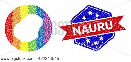 Pixel Spectral Map Of Nauru Mosaic Formed With Circle And Subtracted Shape, And Distress Stamp. Lgbt