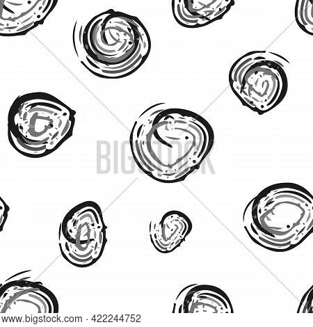 Scribbled Painterly Inky Circle Vector Seamless Pattern Background. Hand Drawn Brush Stroke Circles