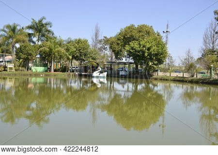Boat Pedal. Toy White Swan-shaped Pedal Boat Toy In A Freshwater Lagoon For Rent At An Ecotourism Fa