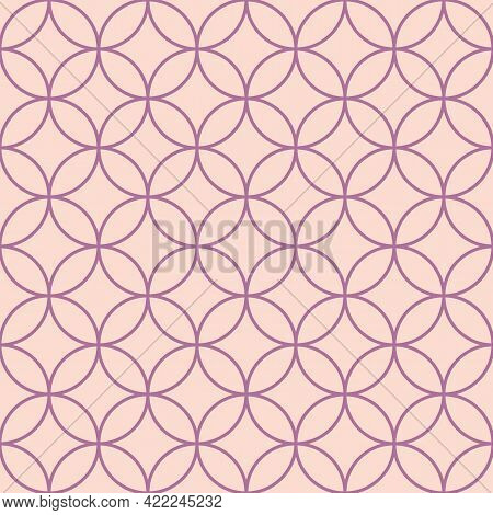 Vector Seamless Geometry Pattern, Circle In Pink And Purple Colors. Geometric Background. For Fabric