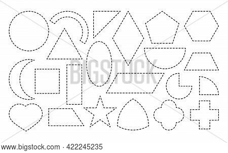 Set Of Geometric Form, Drawn Dotted Line Icon. Simple Mathematical Shapes Square And Rectangle, Elli