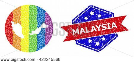 Pixel Spectrum Map Of Malaysia Mosaic Composed With Circle And Carved Shape, And Textured Seal Stamp