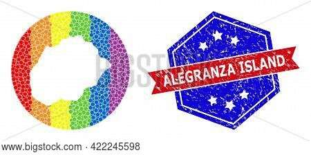 Dot Bright Spectral Map Of Alegranza Island Collage Formed With Circle And Subtracted Space, And Gru