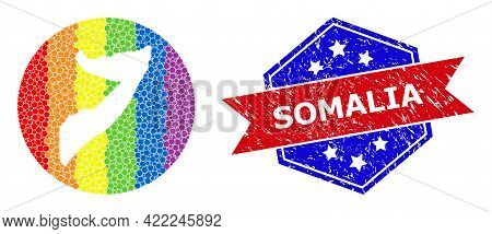 Pixelated Spectral Map Of Somalia Mosaic Created With Circle And Carved Shape, And Distress Stamp. L