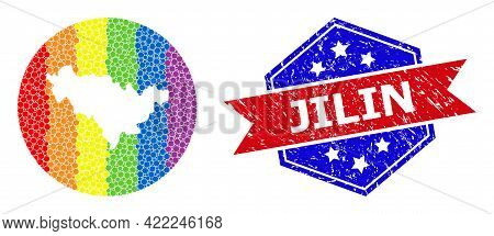 Pixelated Bright Spectral Map Of Jilin Province Mosaic Created With Circle And Subtracted Shape, And