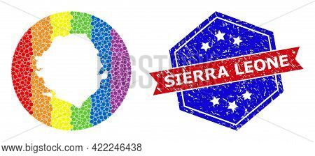 Pixelated Rainbow Gradiented Map Of Sierra Leone Collage Composed With Circle And Carved Shape, And