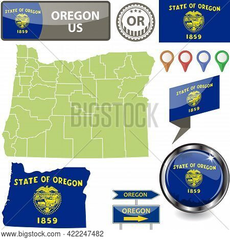 Map Of Oregon State, Us With Flag And Counties. Vector Image