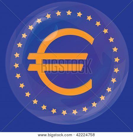 euro union sign in the bubble, crisis concept vector illustration eps10
