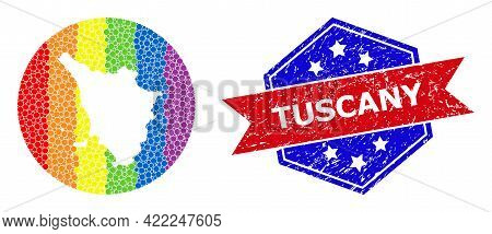 Dot Bright Spectral Map Of Tuscany Region Mosaic Created With Circle And Hole, And Scratched Seal St
