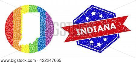 Dot Spectrum Map Of Indiana State Mosaic Designed With Circle And Subtracted Space, And Textured Wat