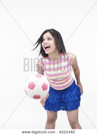 Asian Girl Of Indian Origin With A Football In Hand