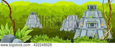 Maya Pyramid Vector Illustration, Ancient Mexico Stone Aztec Temple, Green Jungle Landscape, Liana.