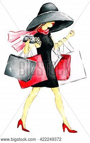 Confident, Happy, Attractive Young Woman In A Black Dress And Hat, Wearing Holding Shopping Bags. Bl