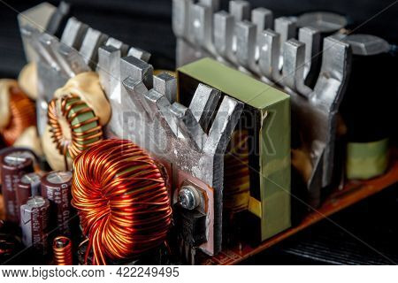 Part Of Pc Power Supply With Radiator And Electronic Board With Integrated Stabilizers And Filter Ca