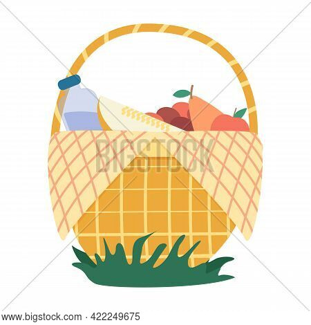 Picnic Basket.a Set Of Items For A Picnic With Various Food And Drinks.picnic Basket. Vector Graphic