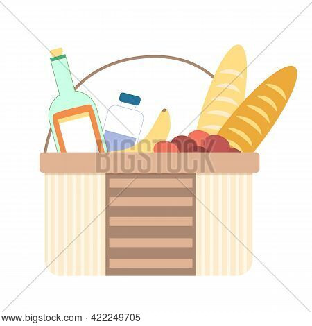 Picnic. Full Picnic Basket With Varied Food And Drink In Bed Tonak. Isolated On White Background. Ve