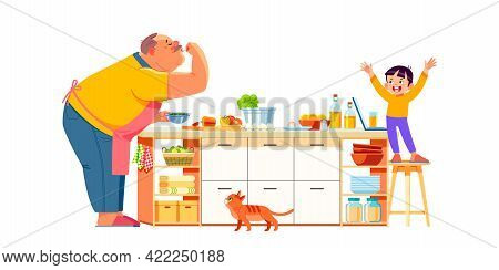 Grandfather And Grandson Together In Kitchen. Your Grandpa Will Prepare The Perfect Meal For You. Se