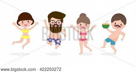 Hello Summer, Young Women And Men Jumping On Have A Fun Summer Time, Relaxing Couple Person At Seash