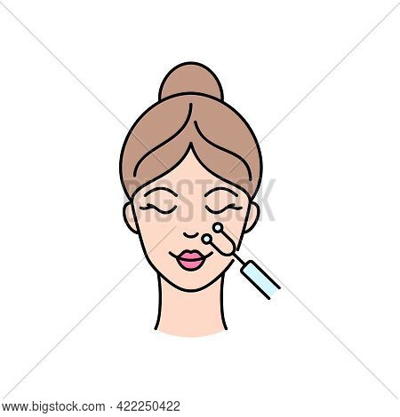 Microcurrent Medicine Treatment. Facial Treatment With Galvanic.. Icon In Line Art Style For Beauty