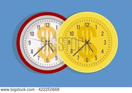 Working Time Cost. Expensive Price For Minutes And Hours Metaphor. Watch Dial With Dollar Sign. Cart