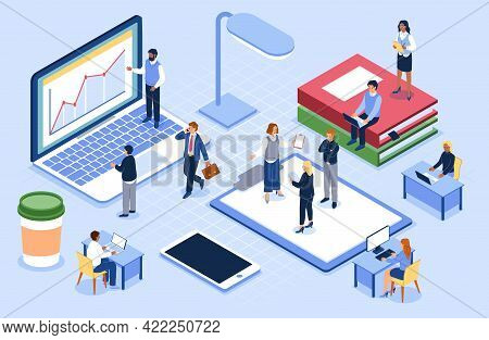 Isometric People In Open Space Office. Coworking Concept. Workplace For Teamwork. Cartoon Workers Co