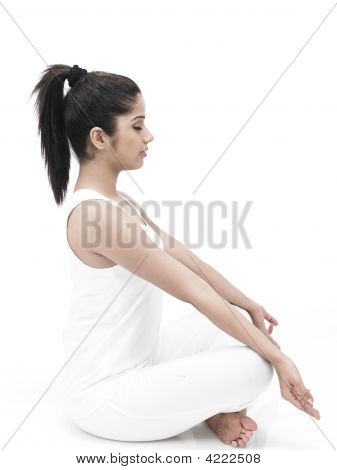 Asian Woman Of Indian Origin Doing Exercise