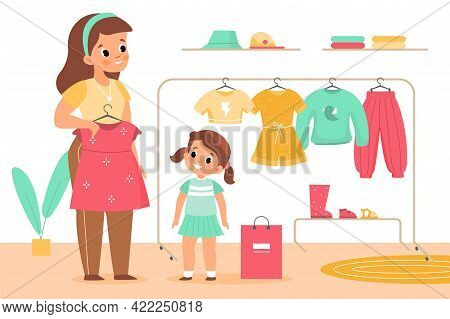 Kids Clothing Store. Girl With Mother In Boutique. Family Shopping. Mom Helps Daughter Choose Dress.