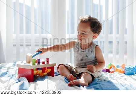Cute Baby Toddler Playing With Learning Multicolor Toy Pounding Bench At Home. Count Learning.  Earl