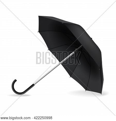Open Umbrella. Realistic Black Mockup. Side View Weather Object On Ground With Shadow, Rain Protect,