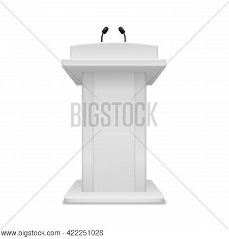 Podium Speaker. Debate Tribune White Stand With Microphone Front View. Pedestal For Lecture, Award C