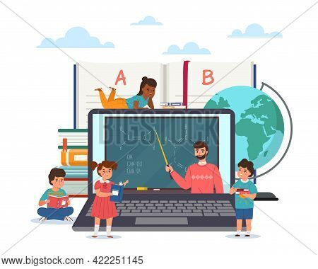 Distance Learning. Children Study Online. Remote Education. Cartoon Pupils Watching Teacher Video Le