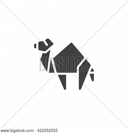 Camel Origami Vector Icon. Filled Flat Sign For Mobile Concept And Web Design. Paper Camel Glyph Ico