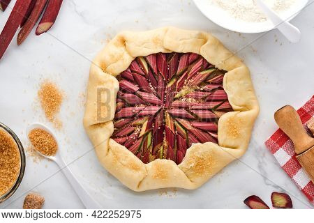 Galette With Fresh Rhubarb Process Of Preparation And Ingredients Flour, Water, Butter, Sugar And Rh