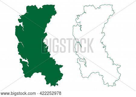 Raigad District (maharashtra State, Konkan Division, Republic Of India) Map Vector Illustration, Scr