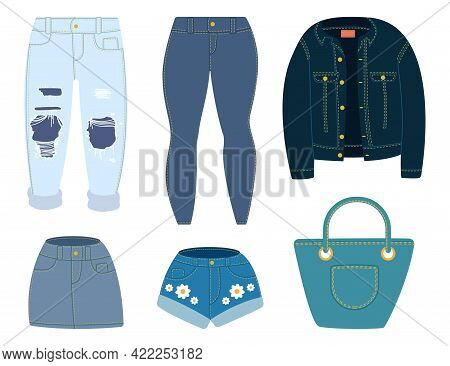 Jeans, Jacket, Shorts, Skirt And Bag. Vector Cartoon Denim Clothes Set Isolated On White Background.