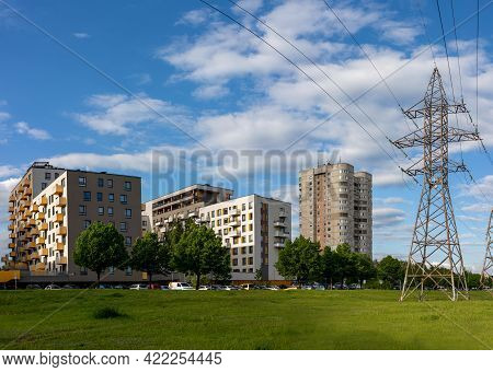 Vilnius, Lithuania - May 26, 2021: Fabijoniskes Residential Quartier With The Modern New Houses And