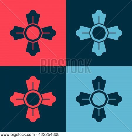 Pop Art Firefighter Icon Isolated On Color Background. Vector