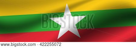 Banner With The Flag Of Myanmar. Fabric Texture Of The Flag Of Myanmar.