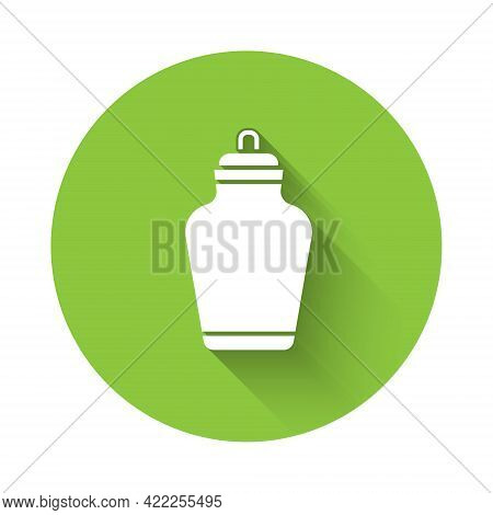White Funeral Urn Icon Isolated With Long Shadow. Cremation And Burial Containers, Columbarium Vases