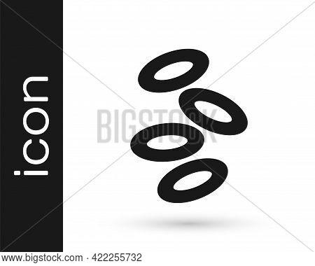 Black Medical Hemoglobin Erythrocytes Icon Isolated On White Background. Vector