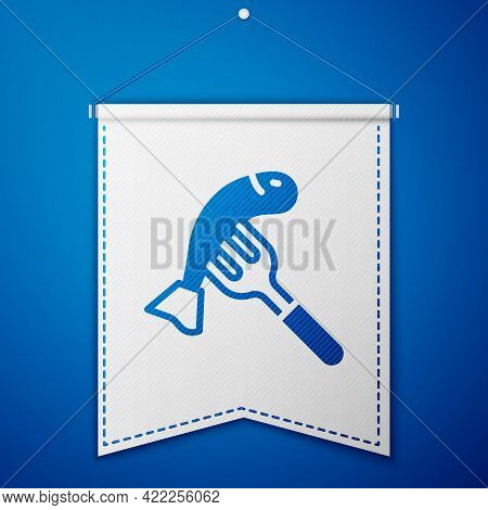 Blue Served Fish On A Plate Icon Isolated On Blue Background. White Pennant Template. Vector