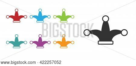 Black Joker Playing Card Icon Isolated On White Background. Jester Hat With Bells. Casino Gambling.