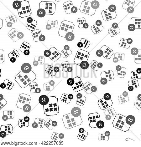 Black Bingo Or Lottery Ball On Bingo Card With Lucky Numbers Icon Isolated Seamless Pattern On White