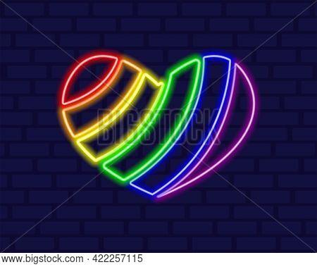 Neon Lgbt Rainbow Heart Element. Happy Gay Pride Month. Glowing Lgbt Community. Vector Illustration.