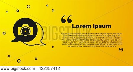 Black Photo Camera Icon Isolated On Yellow Background. Foto Camera. Digital Photography. Vector