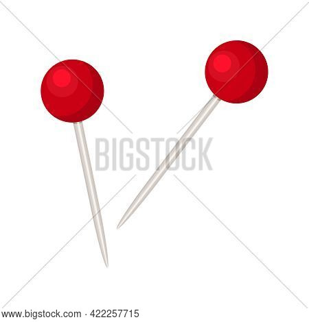 Pin Isolated On White Background. Metal Pin With Plastic Round Red Knob. Red Pushpin For Noticeboard