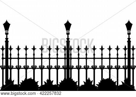 Silhouette Of Iron Fence With Street Flashlights And Plants. Decorative Fence Silhouette With Artist