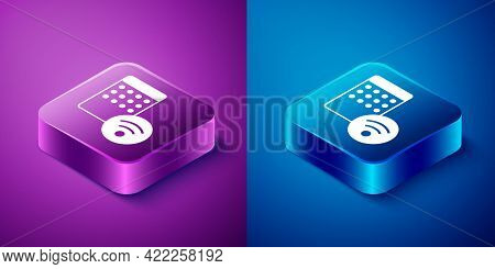 Isometric Air Humidifier Icon Isolated On Blue And Purple Background. Portable Electric Home Applian