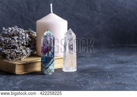 Magic Still Life With Fluorite, Quartz Crystal And Pink Candle. Magic Rocks For Mystic Ritual, Witch